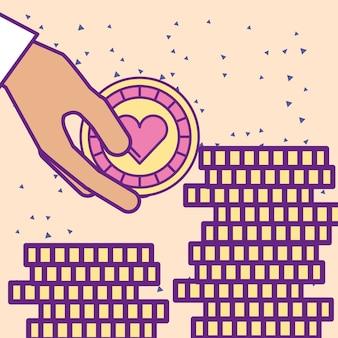Hand, die kasinochip- und -stapelmünzen hält