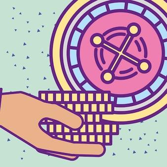 Hand, die kasinochips mit roulettekarikatur hält