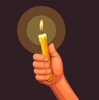 Hand, die kerzenlicht auf dunkelheit hält
