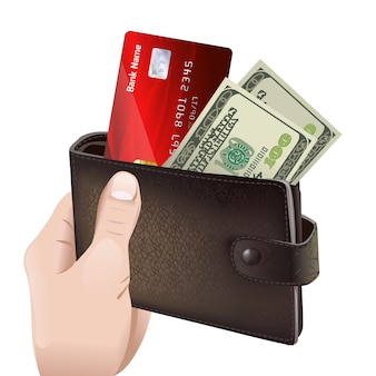 Hand, die klassische lederne geldbörse hält