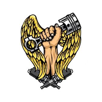 Hand, die kolben mit gold wings und zündkerzen hält