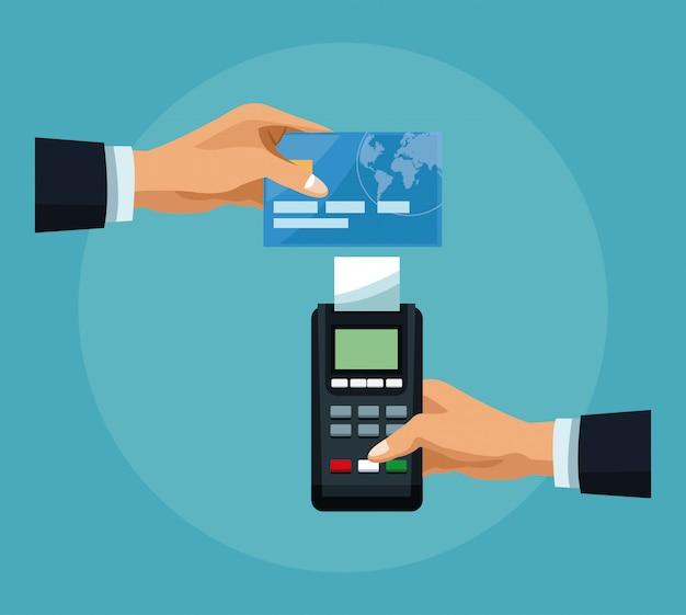 Hand, die kreditkarte zum dataphone übergibt