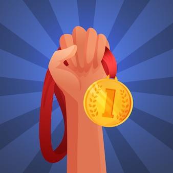 Hand, die medaille hält