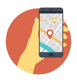 Hand, die mobile mit navigationskarte hält