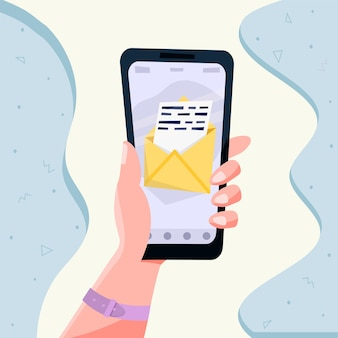 Hand, die mobiles smartphone mit mail-app hält. mail-service-konzept. vektor-illustration