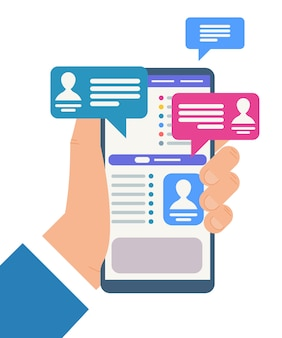 Hand, die mobiltelefon mit chat-kommunikation hält.