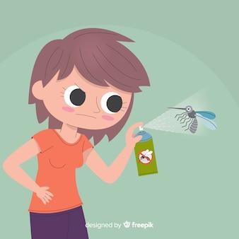 Hand, die mückenspray in der flachen art hält