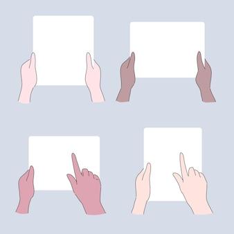 Hand, die papierillustration hält