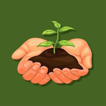 Hand, die pflanze zurück zur natur hält und grünes kampagnensymbolkonzept im realistischen karikaturvektor geht