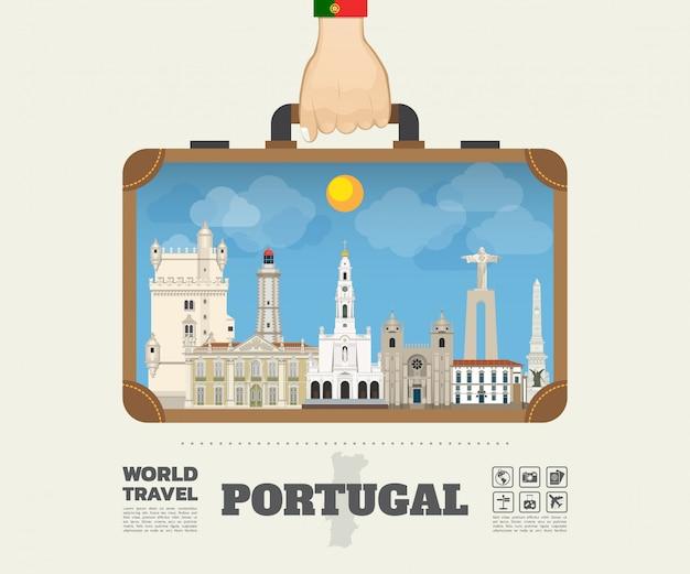 Hand, die portugal-markstein-globale reise und reise infographic-tasche trägt.