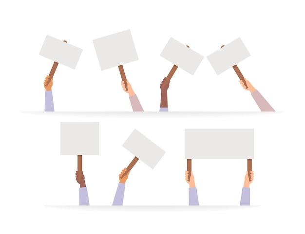 Hand, die protestplakatvektor, rebellenplakate in den händen hält, die menschenaktivistenmenge illustration halten.