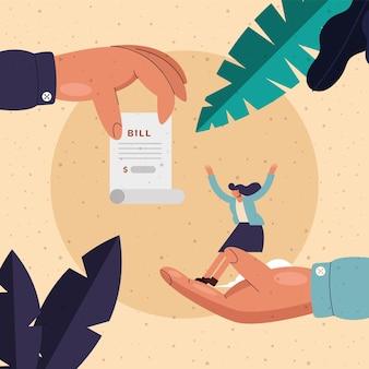 Hand, die rechnungspapier und frauenkarikatur des geldfinanzgeschäftsbankgeschäfts und marktthemaillustration hält