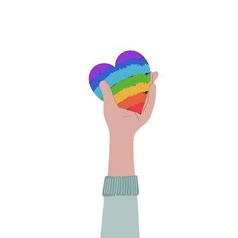 Hand, die regenbogenherz hält. gleichberechtigung, zusammengehörigkeit, lgbtq-rechtekonzept. flache abbildung. vektor-illustration