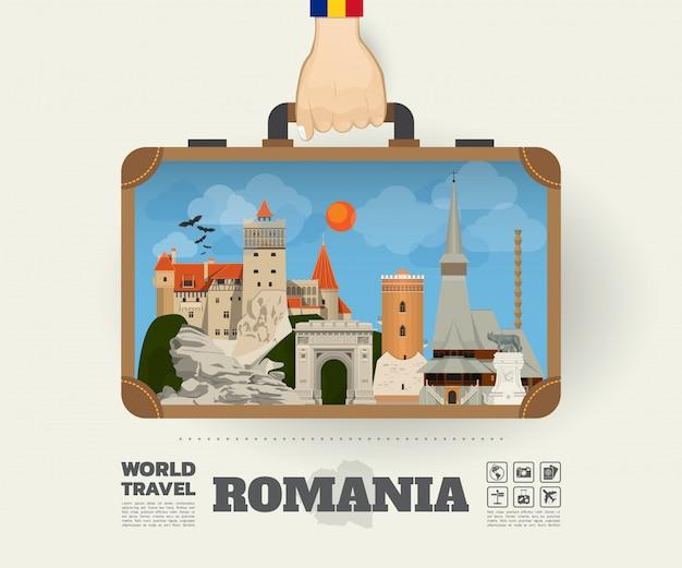 Hand, die rumänien-markstein-globale reise und reise infographic-tasche trägt.
