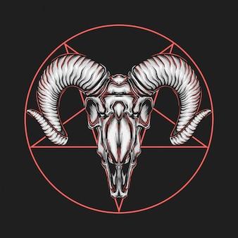 Hand, die satanische ziegenkopf-vektorillustration der weinlese zeichnet