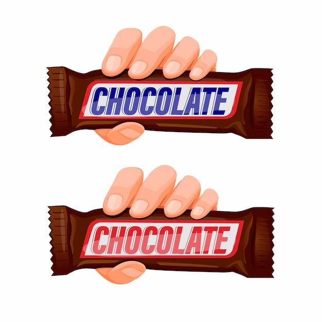 Hand, die schokoladen-snackbar-symbolsatzkonzept in der karikaturillustration im weißen hintergrund hält