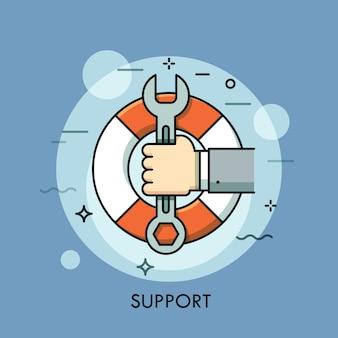 Hand, die schraubenschlüssel oder schraubenschlüssel gegen rettungsring auf hintergrund hält. technischer support, reaktion und lösung, problemlösungskonzept.