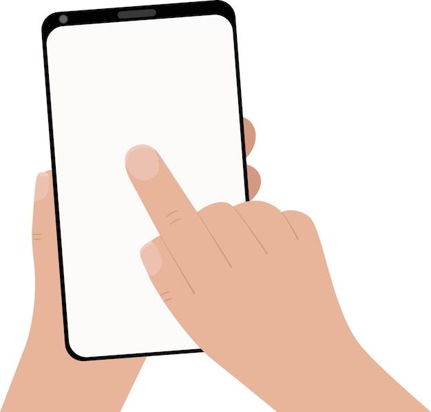 Hand, die schwarzes smartphone hält und leeren weißen bildschirm berührt. mit mobilem smartphone, flaches designkonzept.
