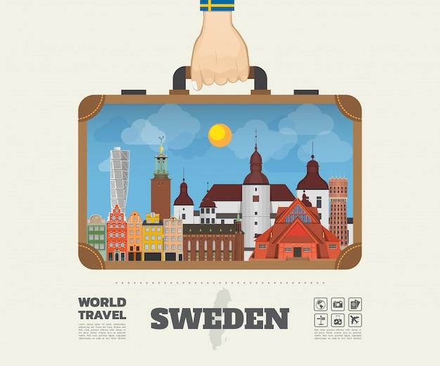 Hand, die schweden-markstein-globale reise und reise infographic-tasche trägt.