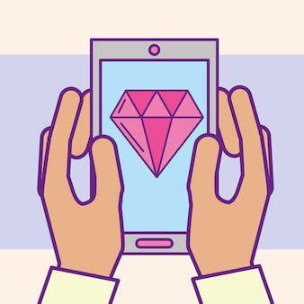 Hand, die smartphone diamant-app-kasino-karikatur hält