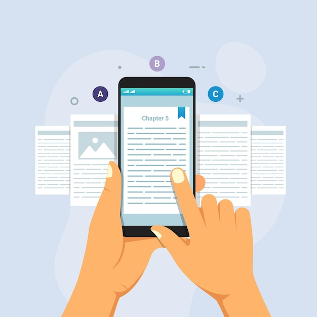 Hand, die smartphone-lese-e-book mit e-book-reader hält