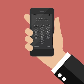 Hand, die smartphone mit anmeldebildschirm hält und passcode eingibt. vektor-illustration
