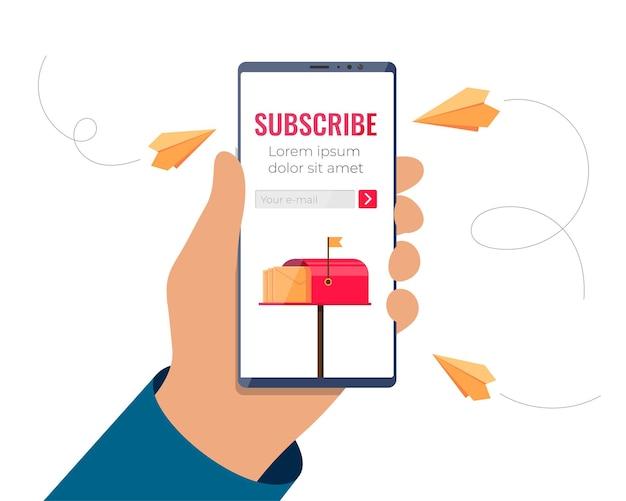 Hand, die smartphone mit e-mail-anmeldeformular auf dem bildschirm hält, abonnieren sie den newsletter oder