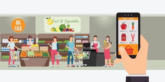 Hand, die smartphone mit einkaufs-app hält.