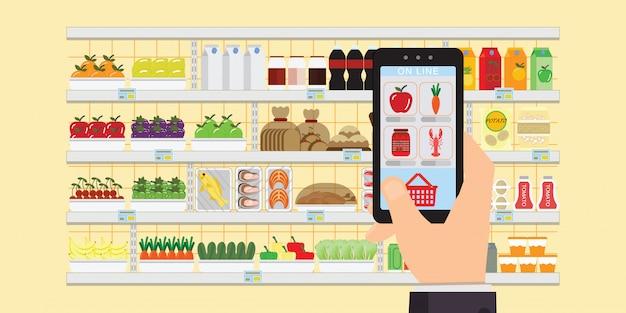 Hand, die smartphone mit einkaufsapp hält