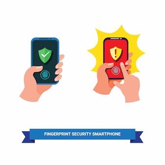 Hand, die smartphone mit fingerabdruck-sicherheitssystem in der flachen illustration der karikatur lokalisiert im weißen hintergrund hält