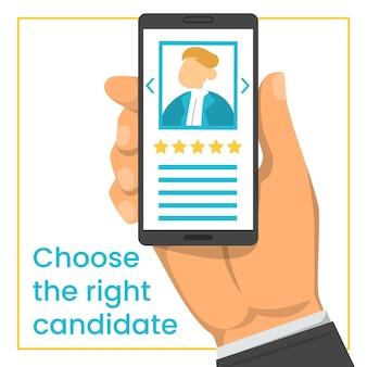 Hand, die smartphone mit kandidaten-lebenslauf hält