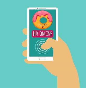Hand, die smartphone mit kauf online hält. interneteinkauf. flaches design
