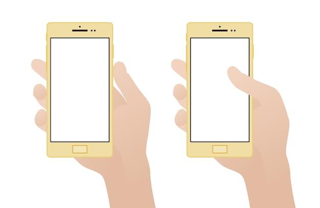 Hand, die smartphone mit leerem bildschirm hält