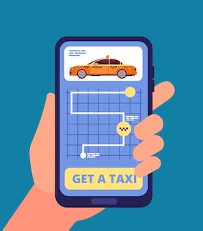 Hand, die smartphone mit taxianwendung hält