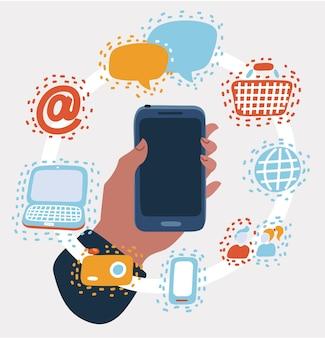 Hand, die smartphone-symbole für mobile apps hält