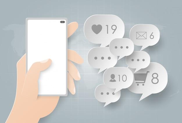Hand, die smartphone unter verwendung für soziales netz hält