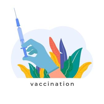 Hand, die spritze mit impfstoffinjektionsimpfungsillustration hält