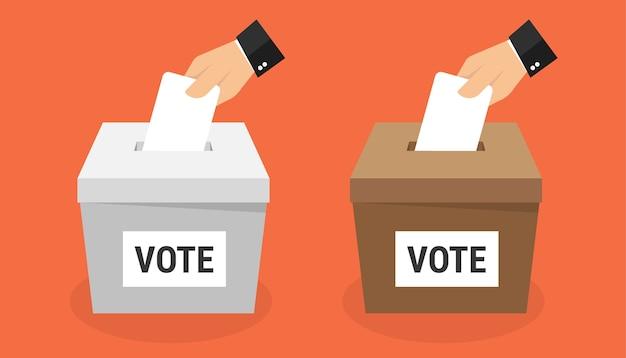 Hand, die stimmzettel in wahlurne setzt.