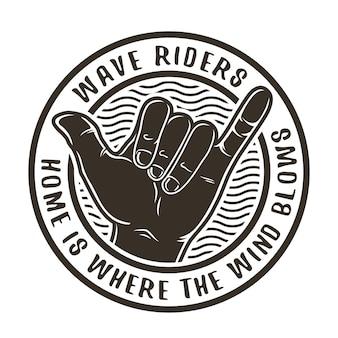 Hand, die surfer hawaii surfen geste shaka zeigt