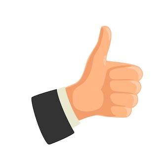 Hand, die symbol wie zeigt. daumen hoch geste machen. flache illustration der vektorfarbe lokalisiert auf weißem hintergrund. zeichen für web, symbol, poster, infografik
