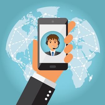 Hand, die telefon mit männlichem kundenkontaktcenter hält