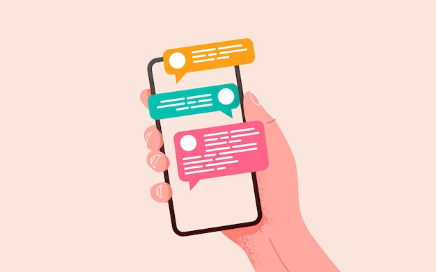 Hand, die telefon mit nachrichtenkommunikation und social-networking-konzeptvektorillustration hält