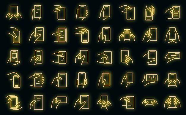 Hand, die telefonikonen hält, stellten vektorneon ein