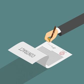 Hand, die vertrag auf weißbuch unterzeichnet. vektor-illustration