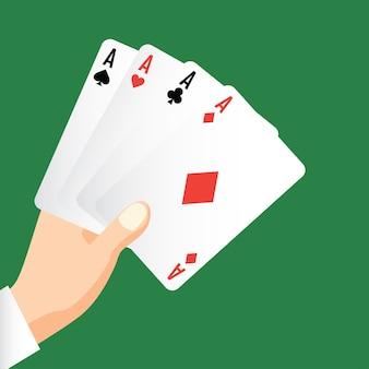 Hand, die vier asse, pokerspielkartenkonzept hält