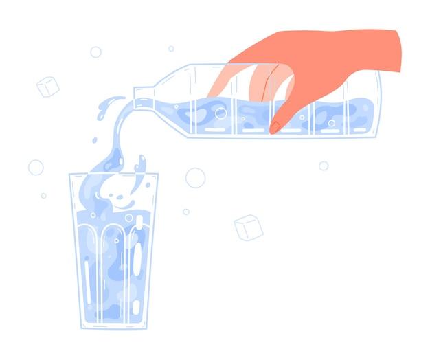 Hand, die wasser aus der flasche in glas gießt.