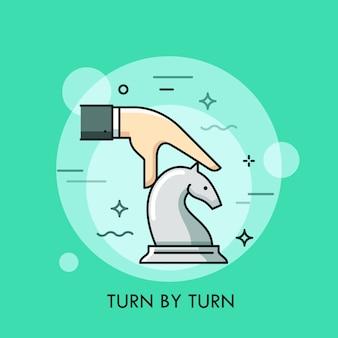 Hand, die weiße dünne linienillustration des weißen ritterschachstücks bewegt