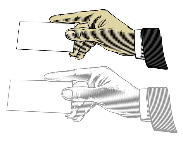 Hand, die weiße unbelegte karte anhält