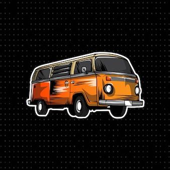 Hand draw volkswagen bus