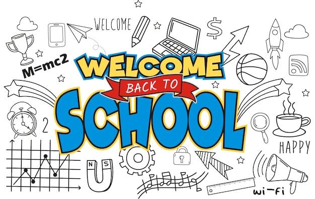 Hand draw willkommen zurück in die schule auf einem hintergrund